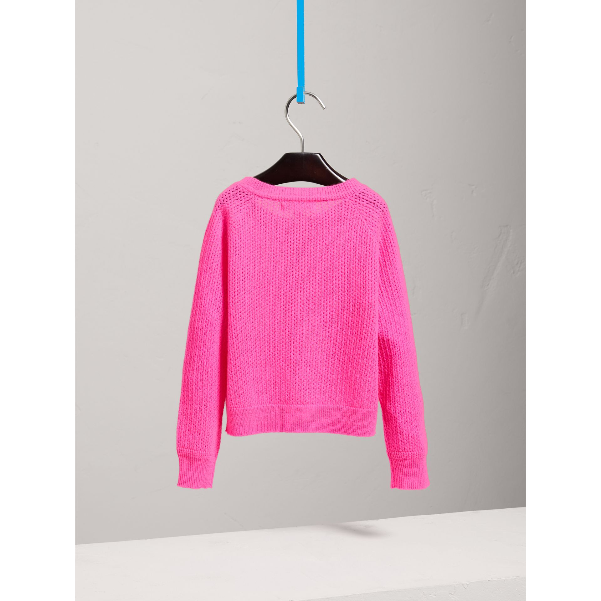 Open-stitch Knitted Cashmere Cardigan in Neon Pink - Girl | Burberry - gallery image 4