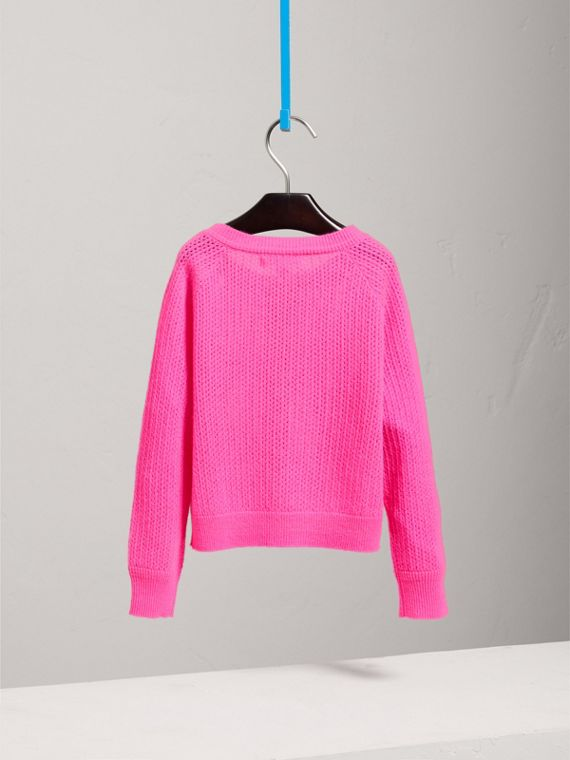 Open-stitch Knitted Cashmere Cardigan in Neon Pink - Girl | Burberry - cell image 3