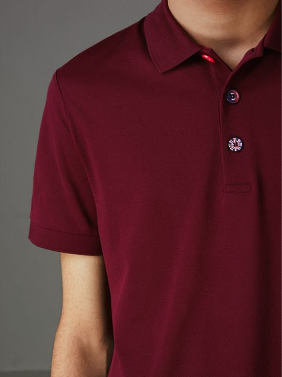Painted Button Cotton Piqué Polo Shirt in Burgundy Red - Men | Burberry Australia - cell image 1