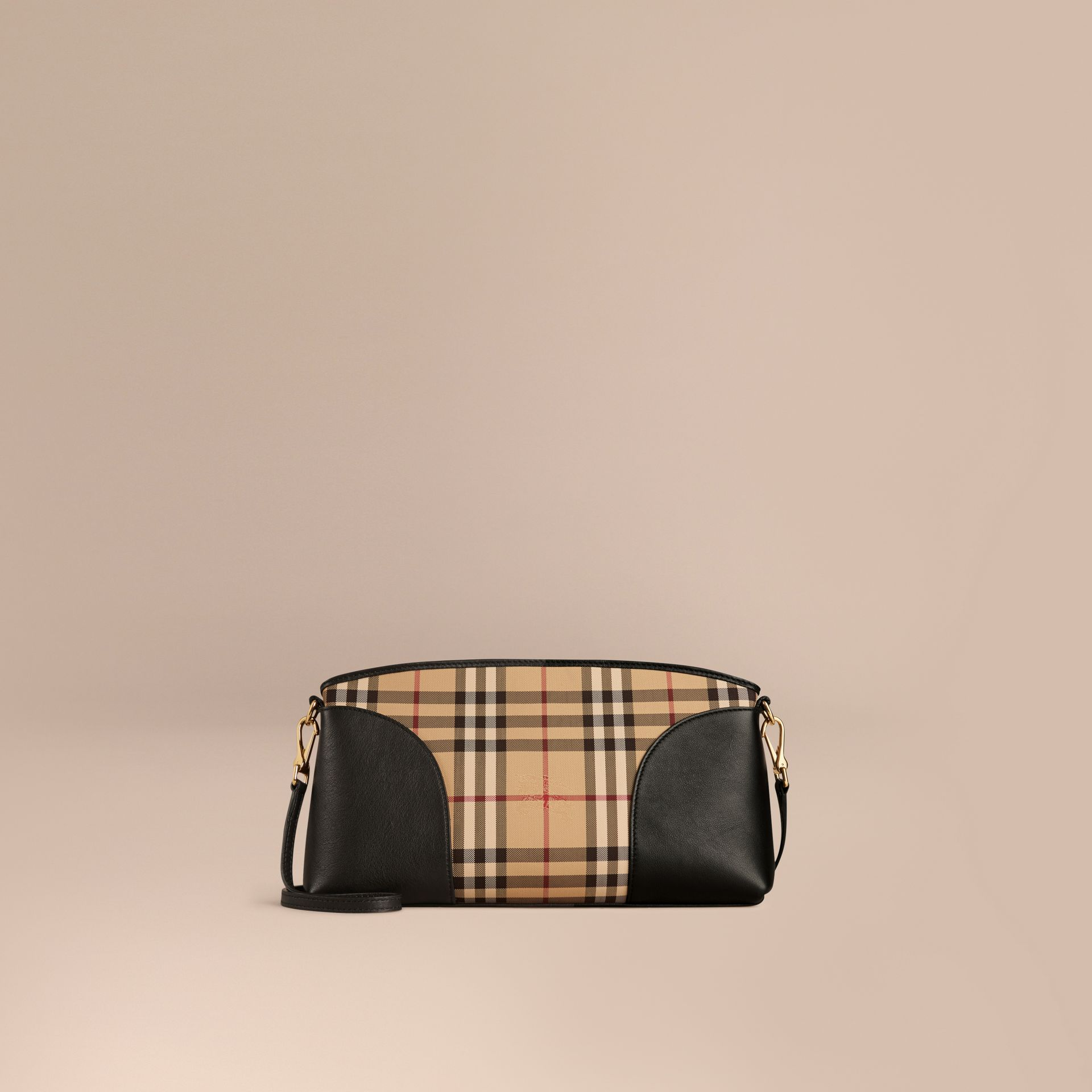 Horseferry Check and Leather Clutch Bag in Honey/black - gallery image 8