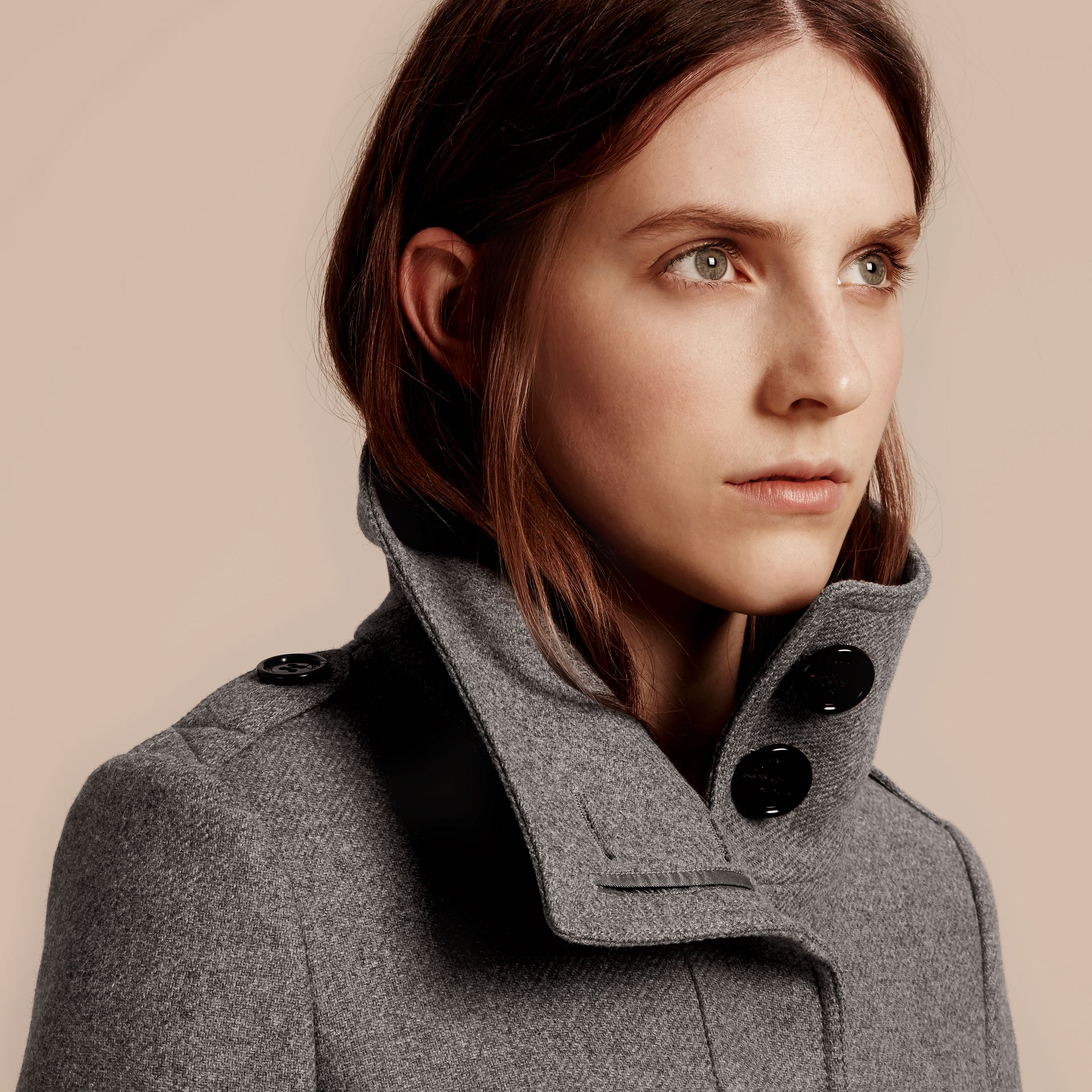 Technical Wool Cashmere Funnel Neck Coat in Steel Grey Melange - gallery image 6