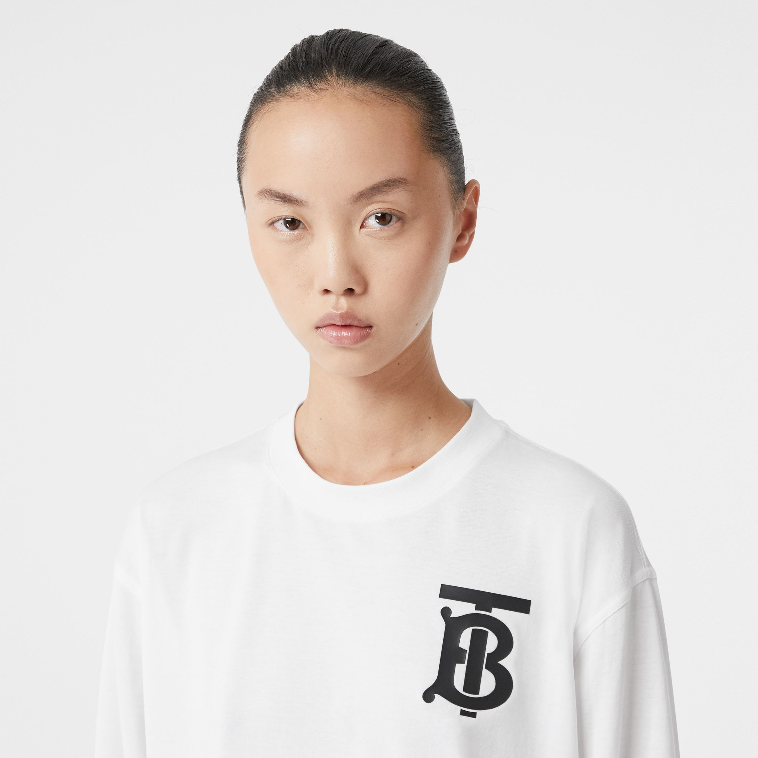 Long-sleeve Monogram Motif Cotton Top in White - Women | Burberry - 2