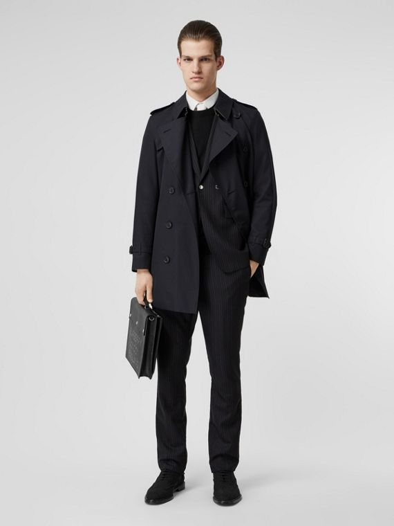 f513ceeacbe7cd Cotton Gabardine Trench Coat in Midnight Navy