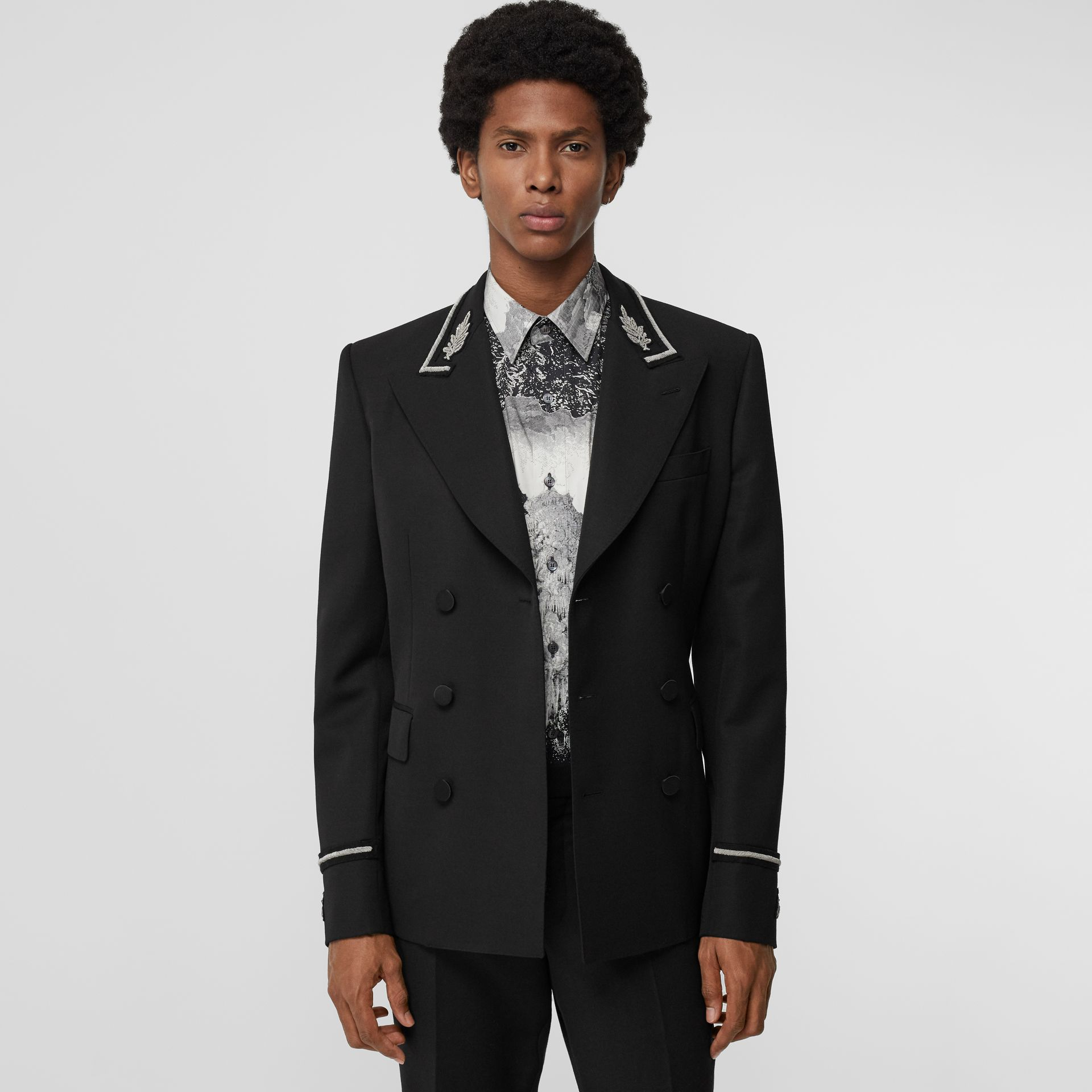 Slim Fit Bullion Wool Double-breasted Jacket in Black - Men | Burberry - gallery image 4