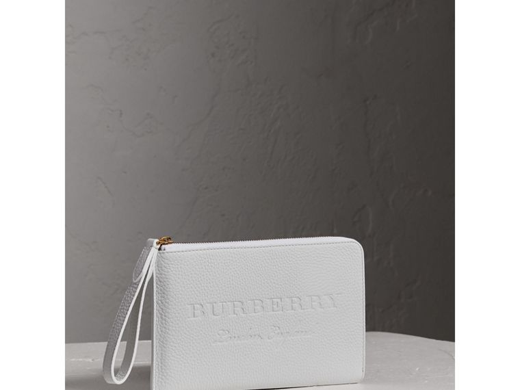 Embossed Leather Travel Wallet in Chalk White | Burberry Canada - cell image 4