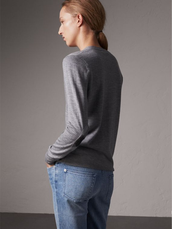 Check Detail Merino Wool Cardigan in Mid Grey Melange - Women | Burberry - cell image 2