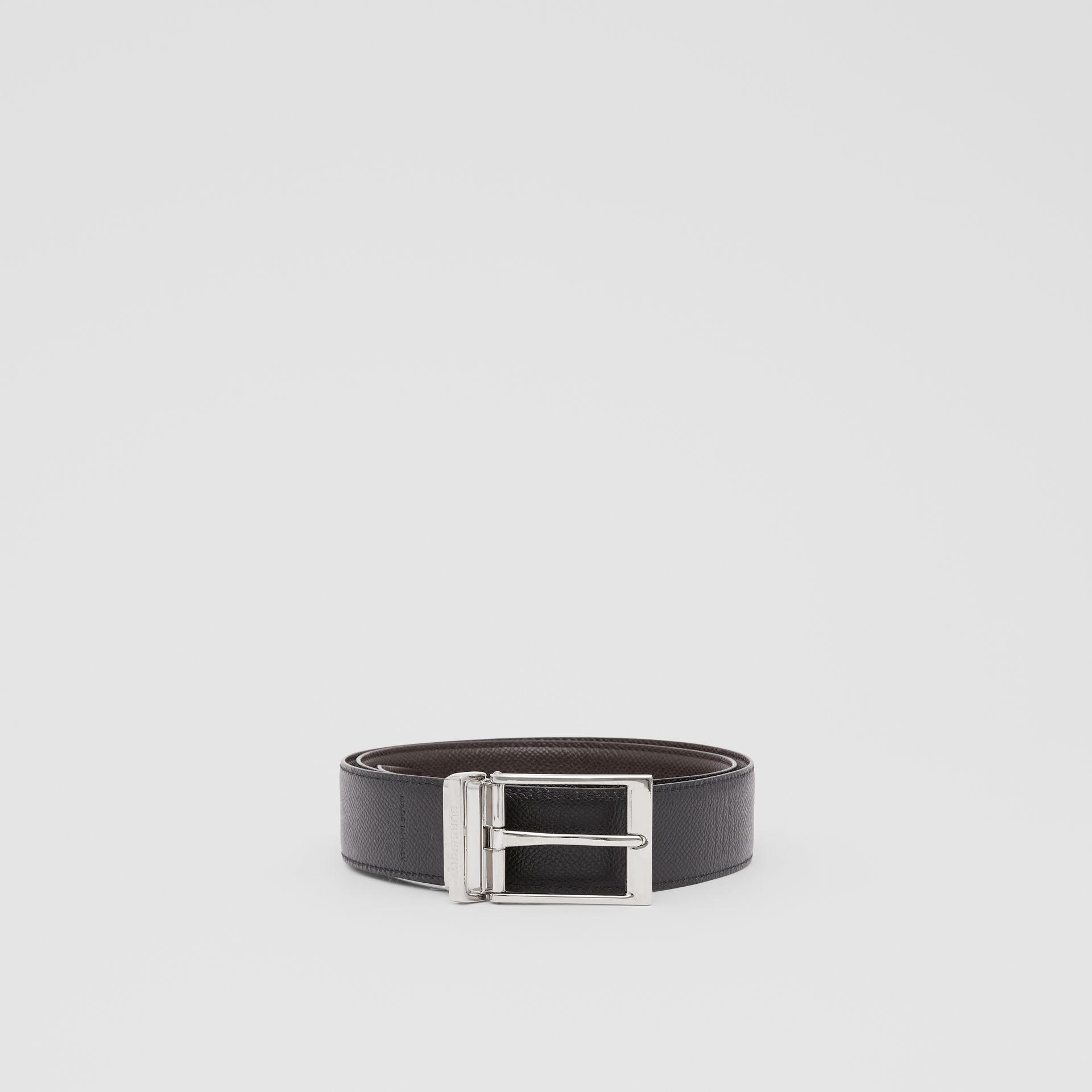 Reversible Grainy Leather Belt in Black/chocolate - Men | Burberry United Kingdom - gallery image 4