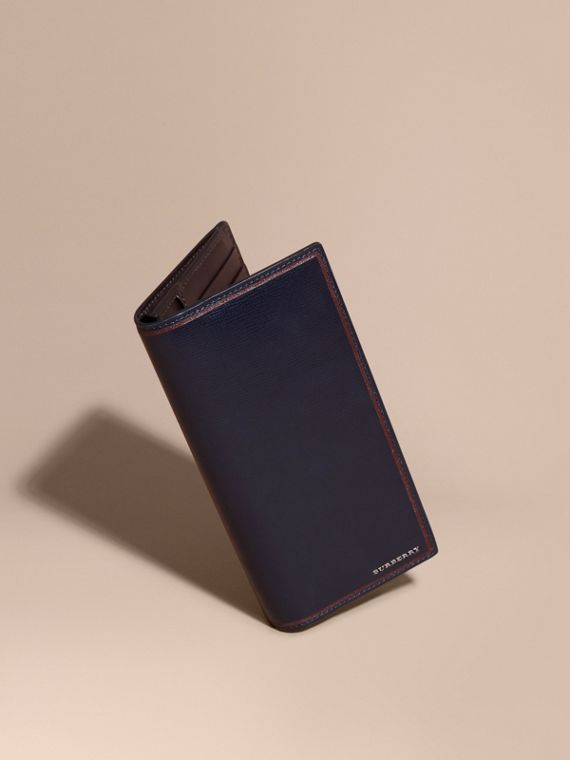 Border Detail London Leather Continental Wallet Dark Navy