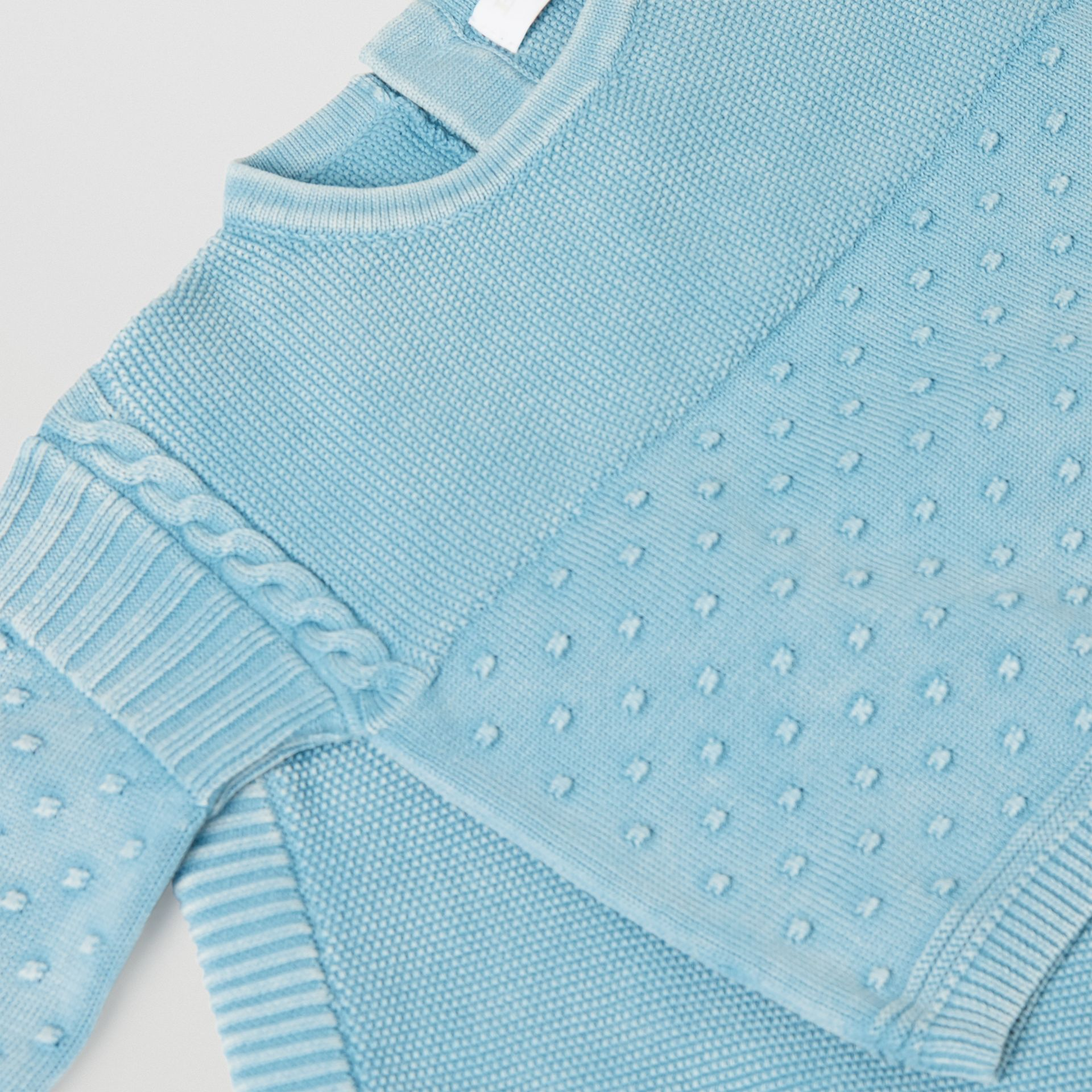 Contrast Knit Cotton Two-piece Baby Gift Set in Opal Blue - Children | Burberry - gallery image 1