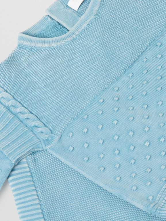Contrast Knit Cotton Two-piece Baby Gift Set in Opal Blue - Children | Burberry - cell image 1