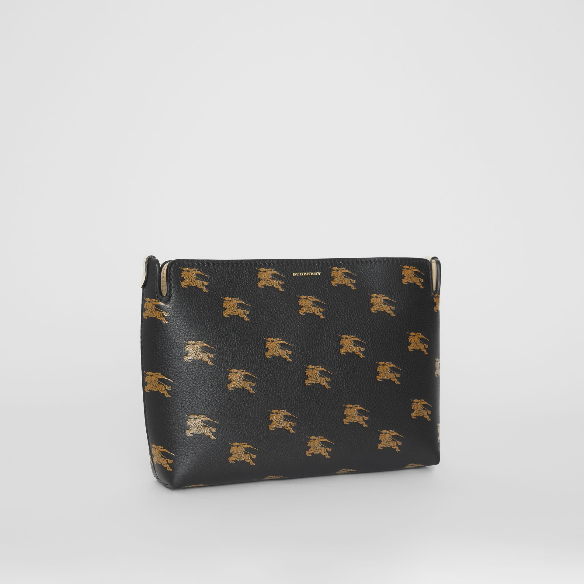 Medium Equestrian Knight Leather Clutch in Black - Women | Burberry United Kingdom - gallery image 6