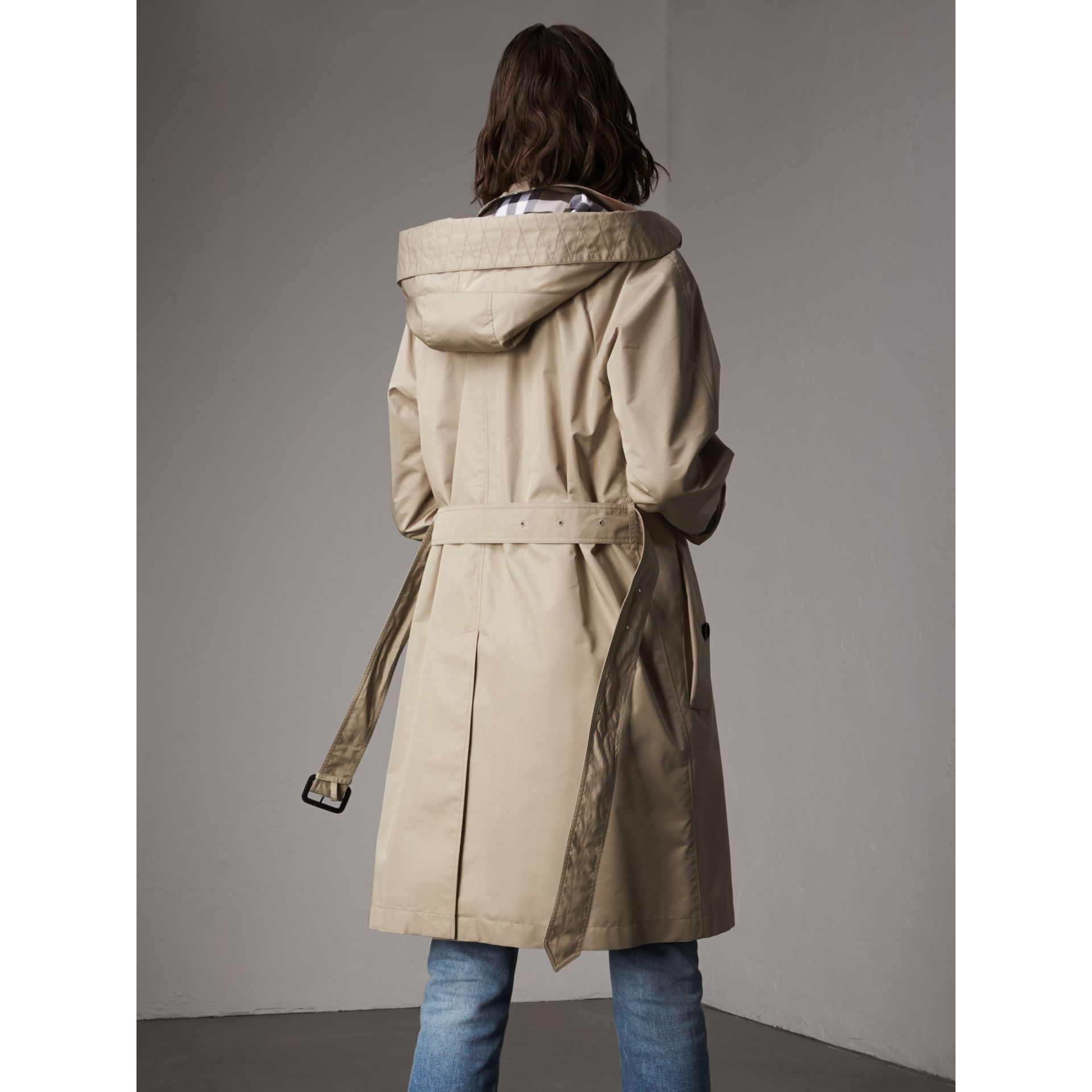 Detachable Hood Cotton Blend Car Coat in Stone - Women | Burberry - gallery image 3