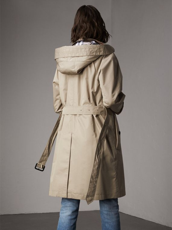 Detachable Hood Cotton Blend Car Coat in Stone - Women | Burberry - cell image 2