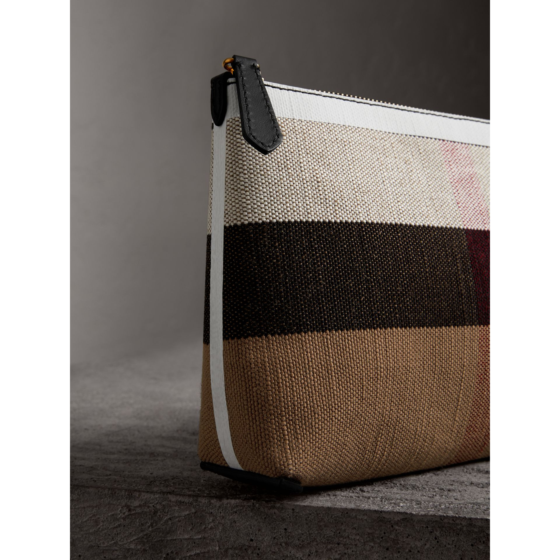 Medium Canvas Check and Leather Zip Pouch in Black/white - Women | Burberry Canada - gallery image 1