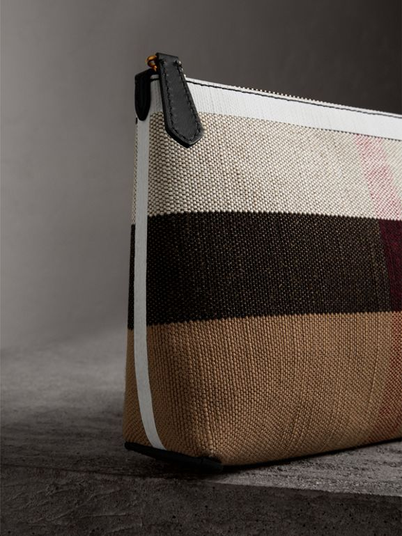 Medium Canvas Check and Leather Zip Pouch in Black/white - Women | Burberry - cell image 1