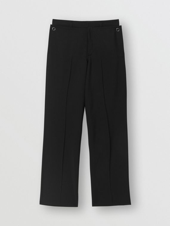 Pocket Detail Wool Mohair Trousers in Black