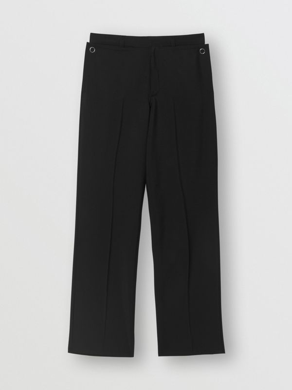 Pocket Detail Wool Mohair Trousers in Black | Burberry Australia - cell image 3