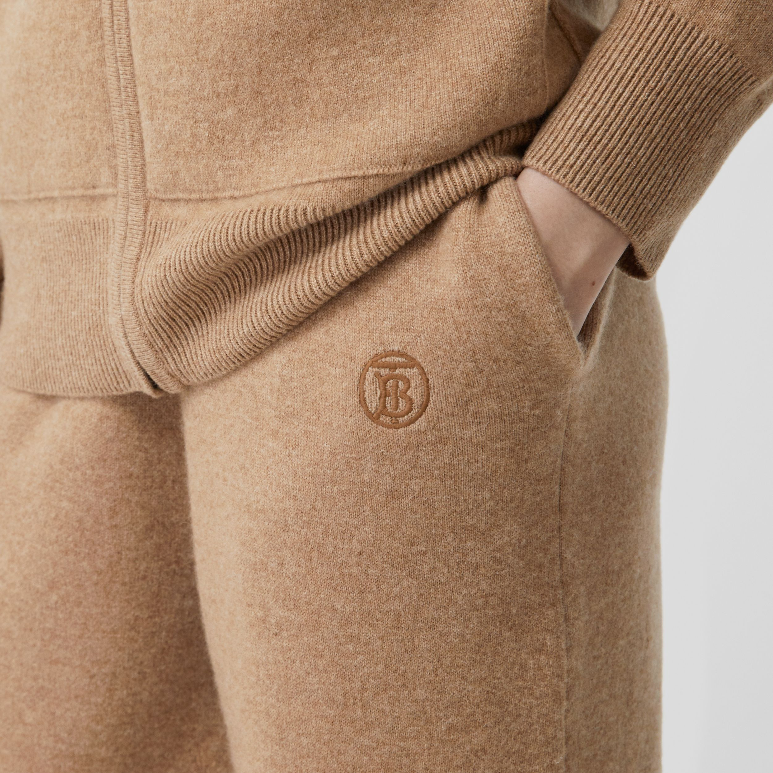 Monogram Motif Cashmere Blend Trackpants in Pale Coffee - Women | Burberry - 2