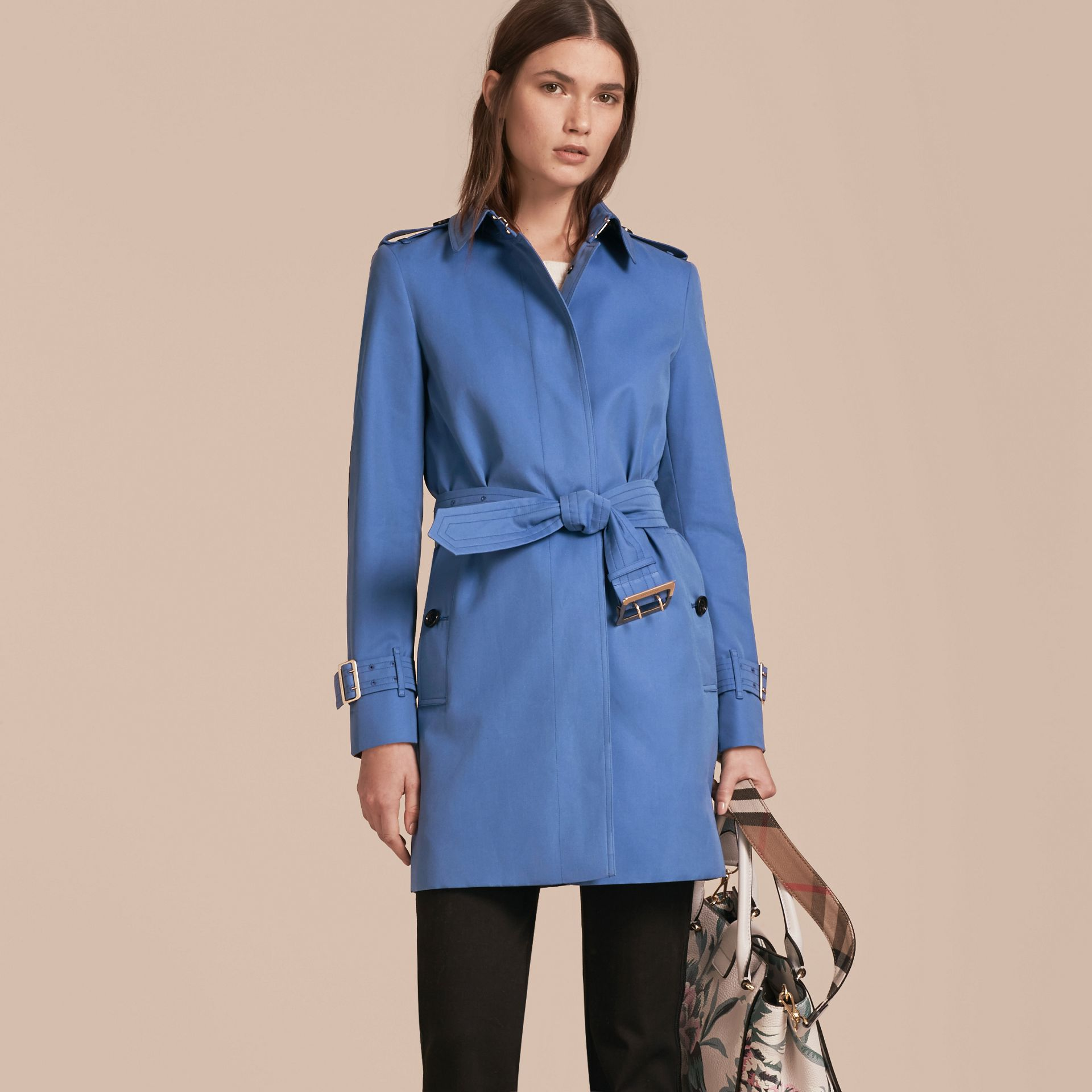 Bright steel blue Single-breasted Trench Coat with Metal Buckle Detail Bright Steel Blue - gallery image 7