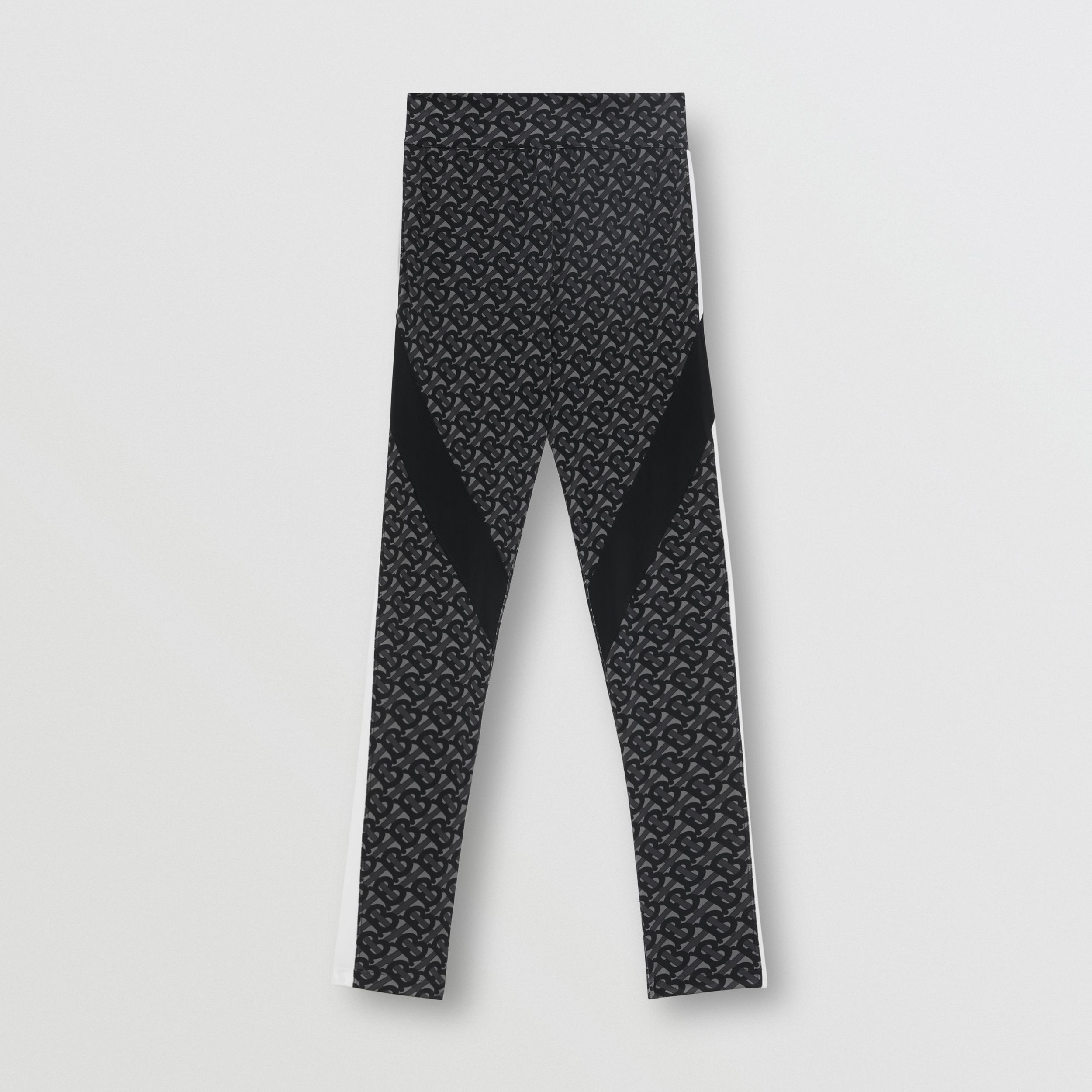Colour Block Monogram Print Stretch Jersey Leggings in Graphite - Women | Burberry - 4