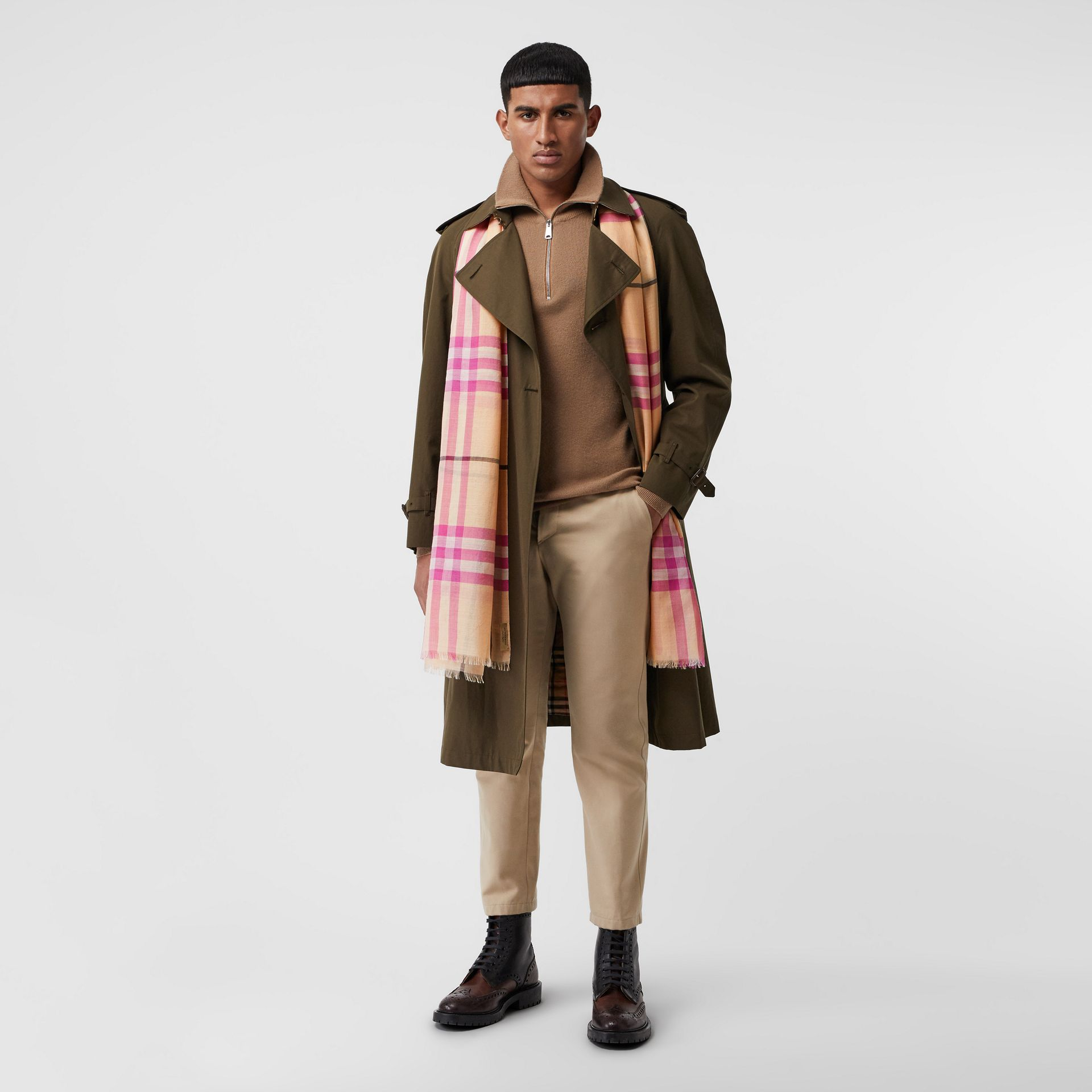 Lightweight Check Wool and Silk Scarf in Pale Apricot | Burberry Australia - gallery image 3