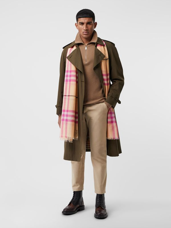 Lightweight Check Wool and Silk Scarf in Pale Apricot | Burberry - cell image 3