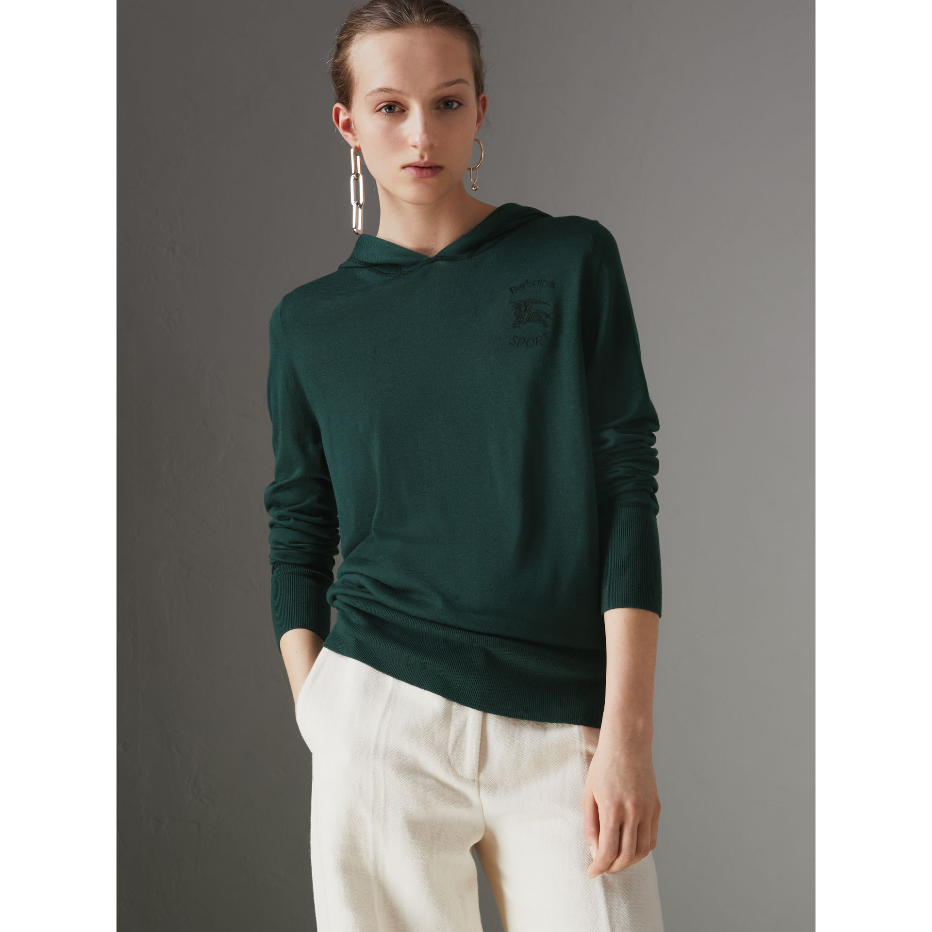 Embroidered Silk Cashmere Hoodie in Pigment Green - Women | Burberry United States - gallery image 0