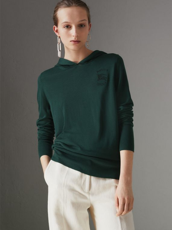 Suéter com capuz em seda e cashmere bordado (Verde Pigmento)
