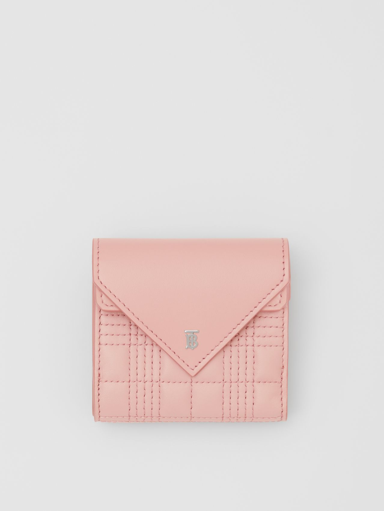 Quilted Lambskin Folding Wallet in Blush Pink