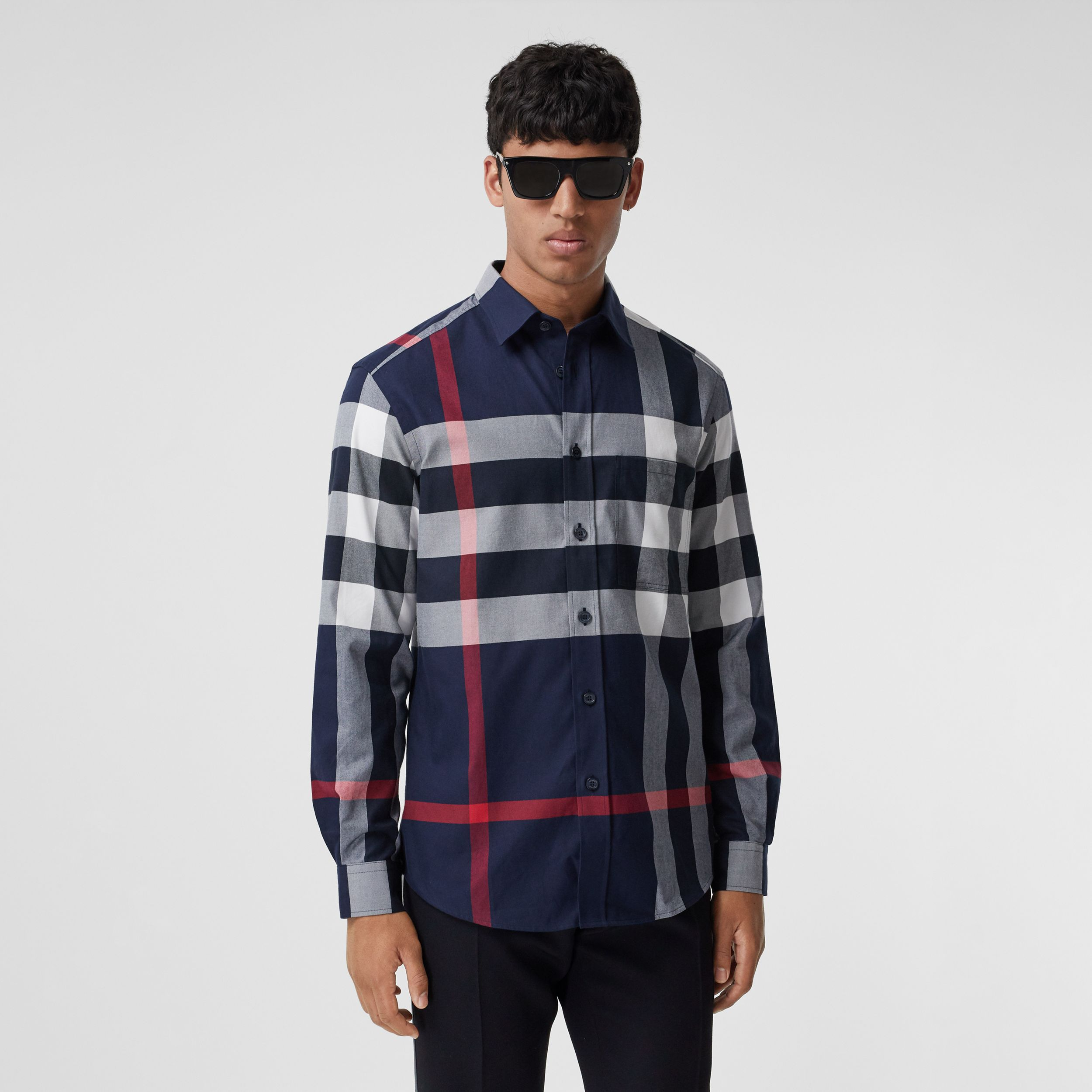 Check Cotton Flannel Shirt in Navy - Men | Burberry Canada - 1