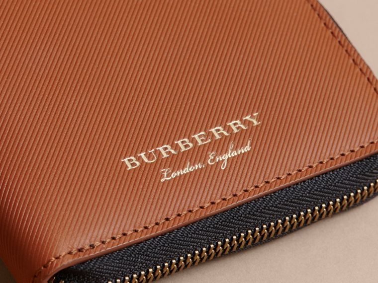 Trench Leather Ziparound Wallet in Tan - Men | Burberry - cell image 1