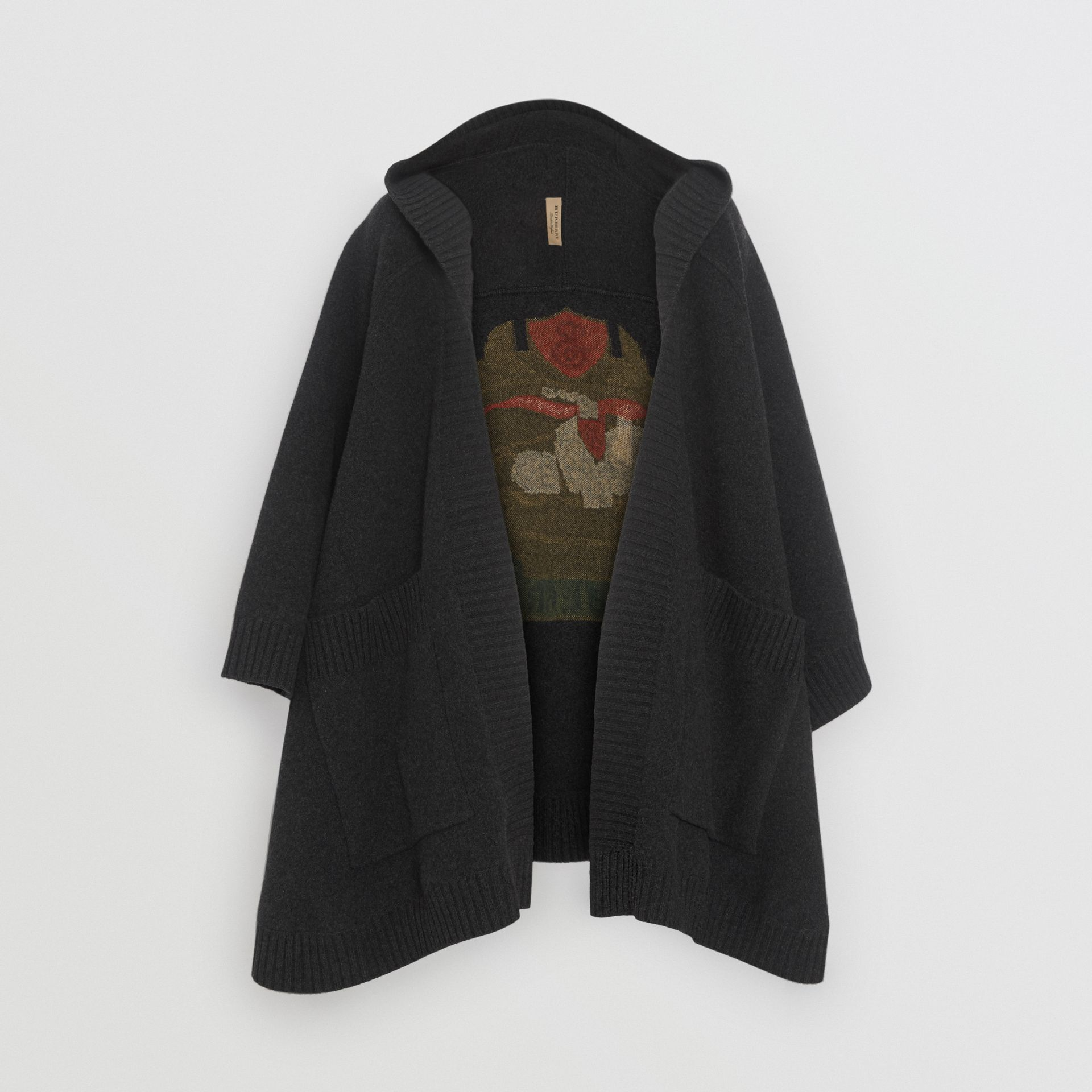 Crest Wool Blend Jacquard Hooded Cape in Charcoal - Women | Burberry United Kingdom - gallery image 3