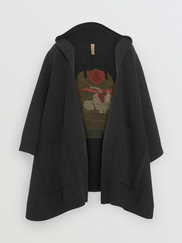 Crest Wool Blend Jacquard Hooded Cape in Charcoal - Women | Burberry - cell image 3