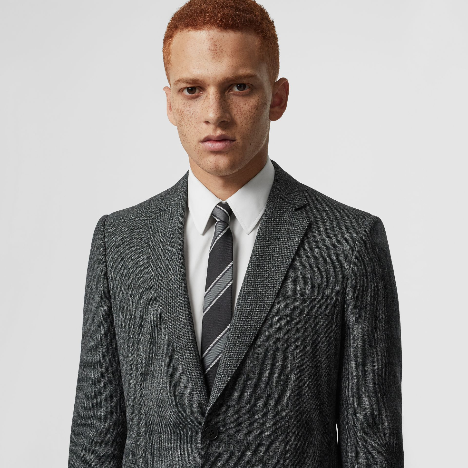 Slim Cut Striped Silk Jacquard Tie in Black - Men | Burberry Australia - gallery image 2