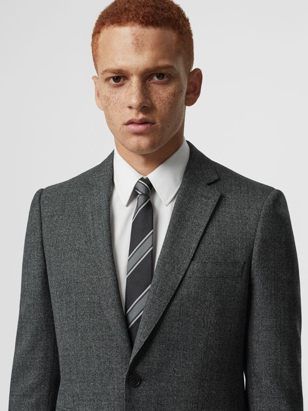 Slim Cut Striped Silk Jacquard Tie in Black - Men | Burberry - cell image 2