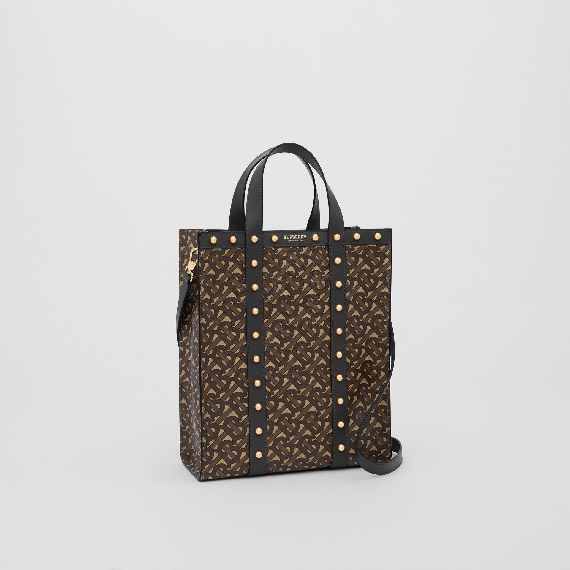 Small Monogram Print E-canvas Portrait Tote Bag in Black - Women | Burberry - gallery image 6