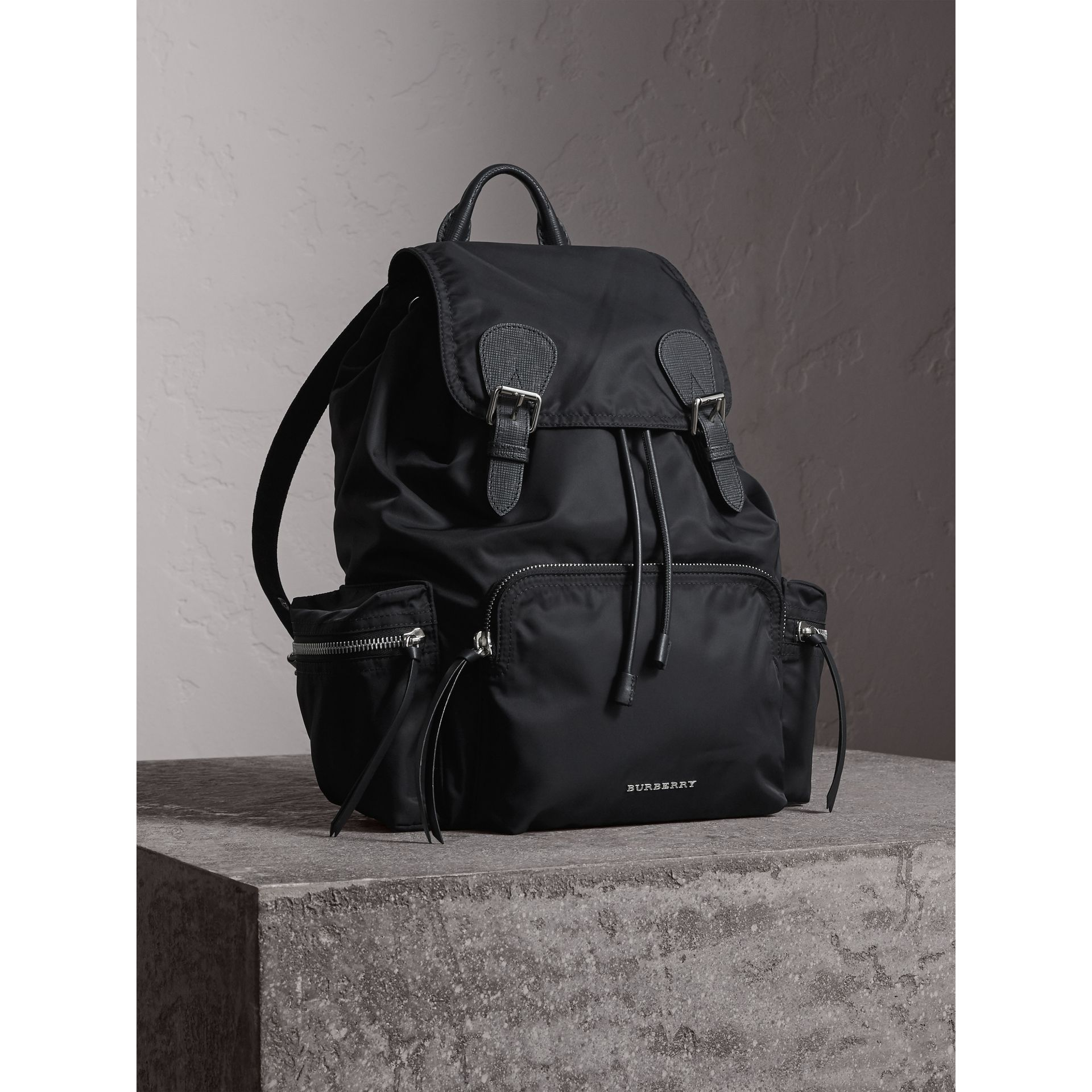 The Large Rucksack in Technical Nylon and Leather in Black/black - Women | Burberry - gallery image 1