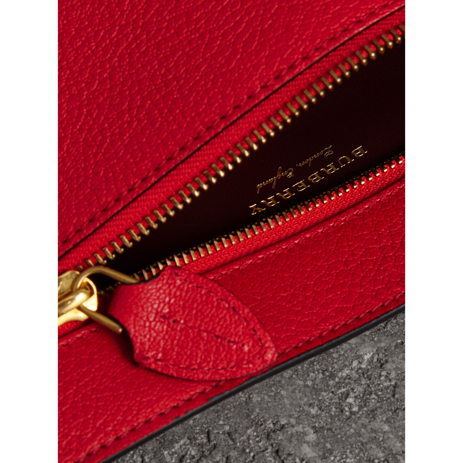 Grainy Leather Wristlet Clutch in Bright Red - Women | Burberry Australia - gallery image 3