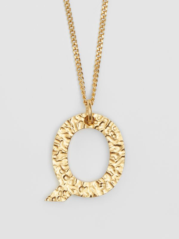 'Q' Alphabet Charm Gold-plated Necklace in Light - Women | Burberry United Kingdom - cell image 2