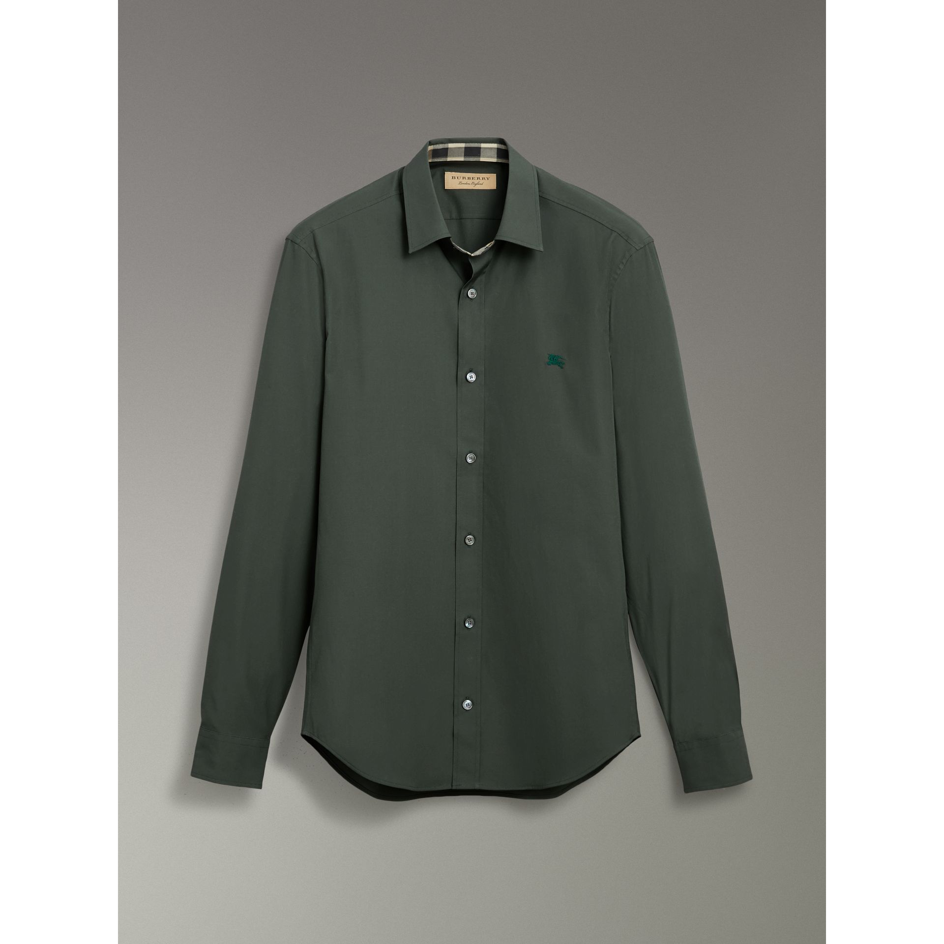Check Detail Stretch Cotton Poplin Shirt in Dark Forest Green - Men | Burberry - gallery image 3