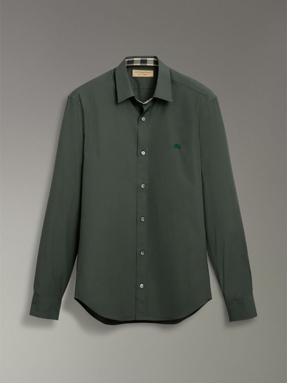 Check Detail Stretch Cotton Poplin Shirt in Dark Forest Green - Men | Burberry - cell image 3