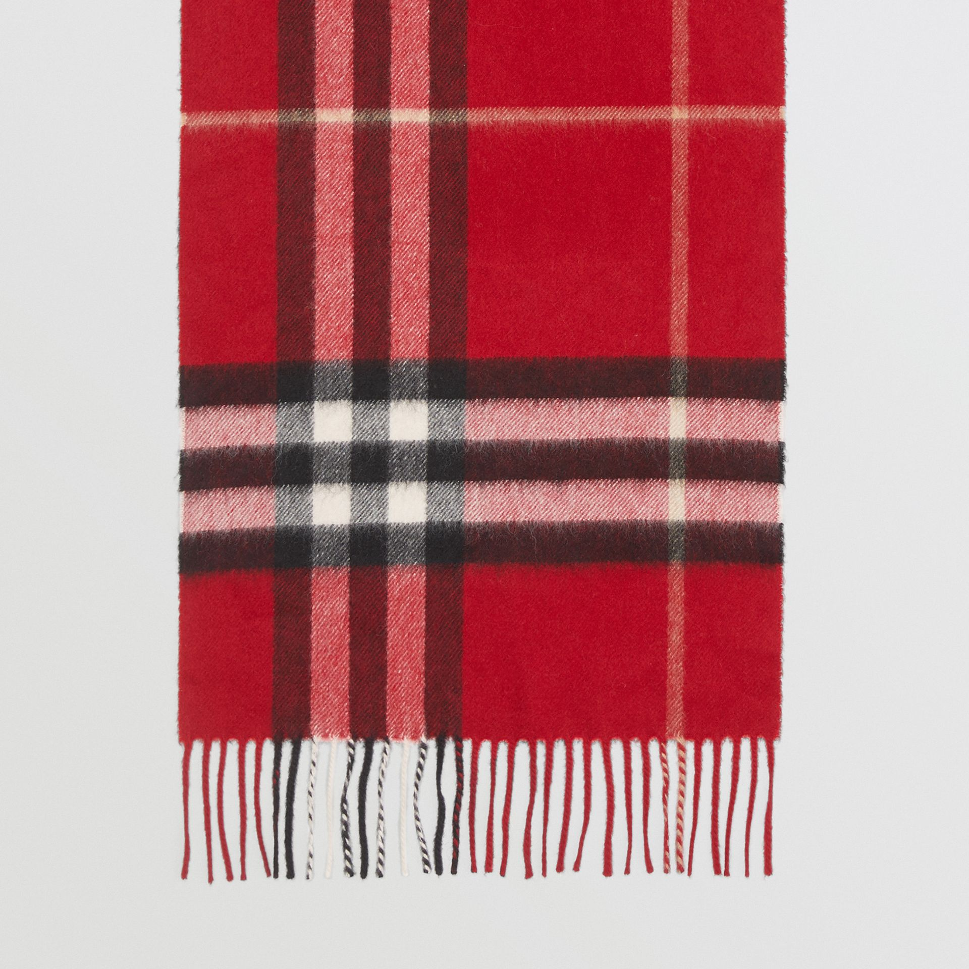 The Classic Check Cashmere Scarf in Parade Red | Burberry United Kingdom - gallery image 4