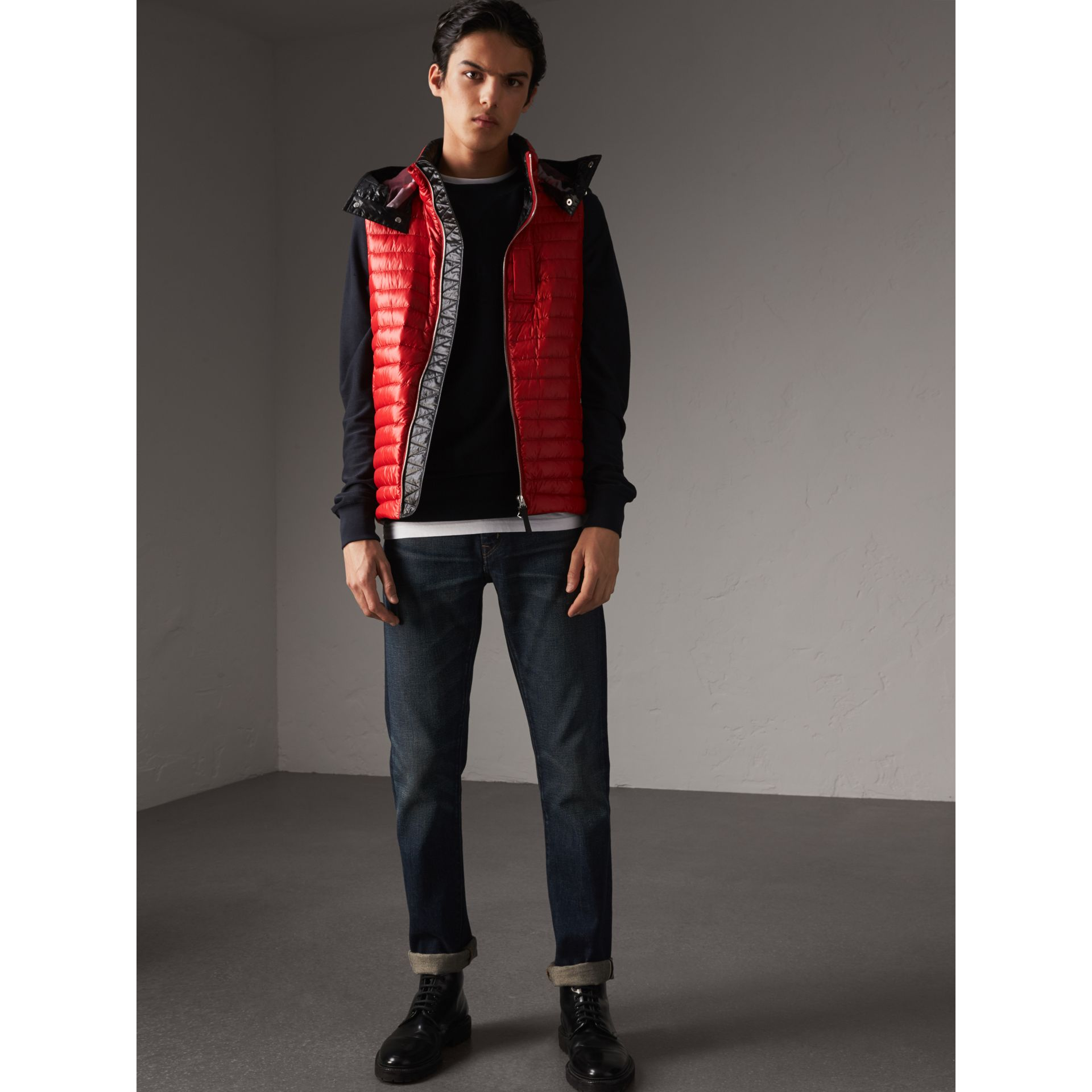 Detachable Hood Packaway Goose-down Gilet in Military Red - Men | Burberry - gallery image 1