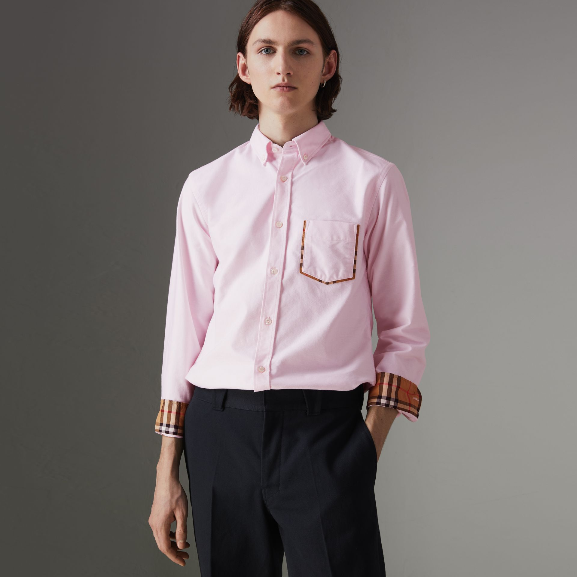Check Detail Cotton Oxford Shirt in Pale Pink - Men | Burberry United Kingdom - gallery image 0