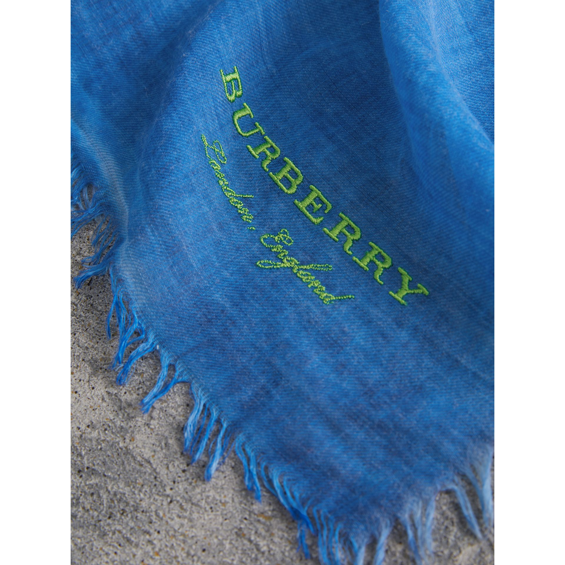 Embroidered Cashmere Cotton Scarf in Azure Blue | Burberry United Kingdom - gallery image 1