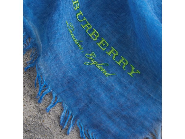 Embroidered Cashmere Cotton Scarf in Azure Blue | Burberry - cell image 1