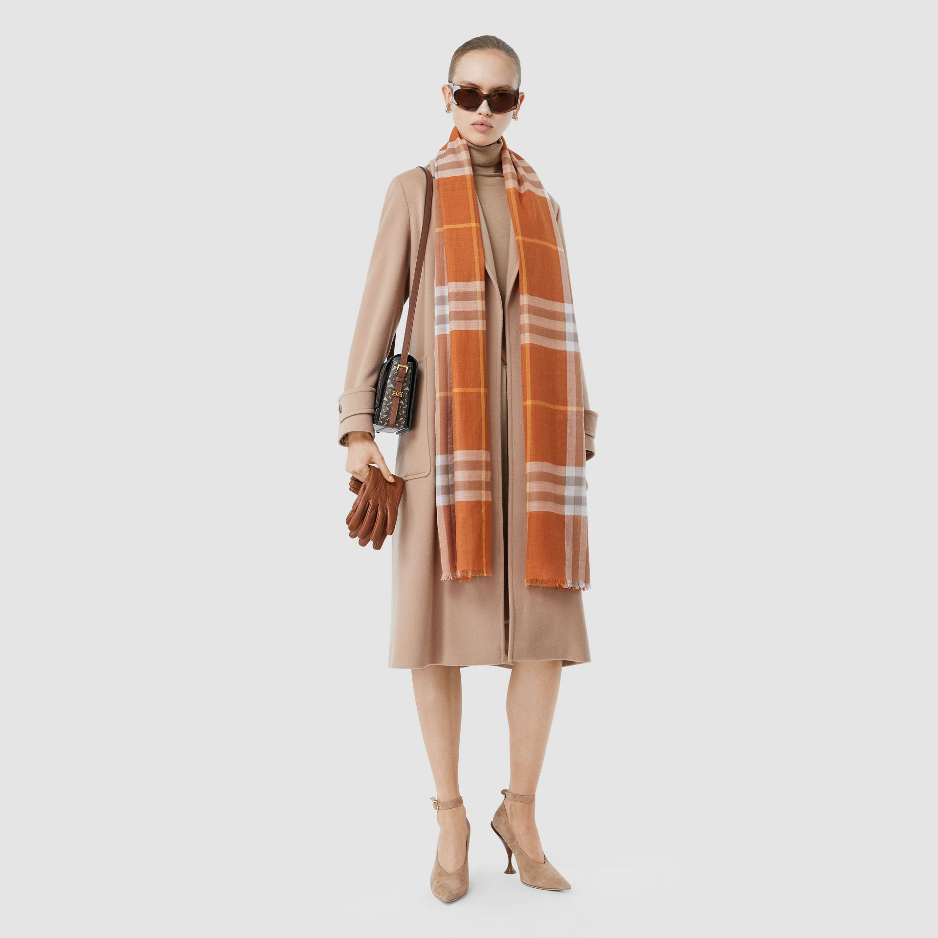 Lightweight Check Wool Silk Scarf in Bright Melon | Burberry United States - gallery image 6