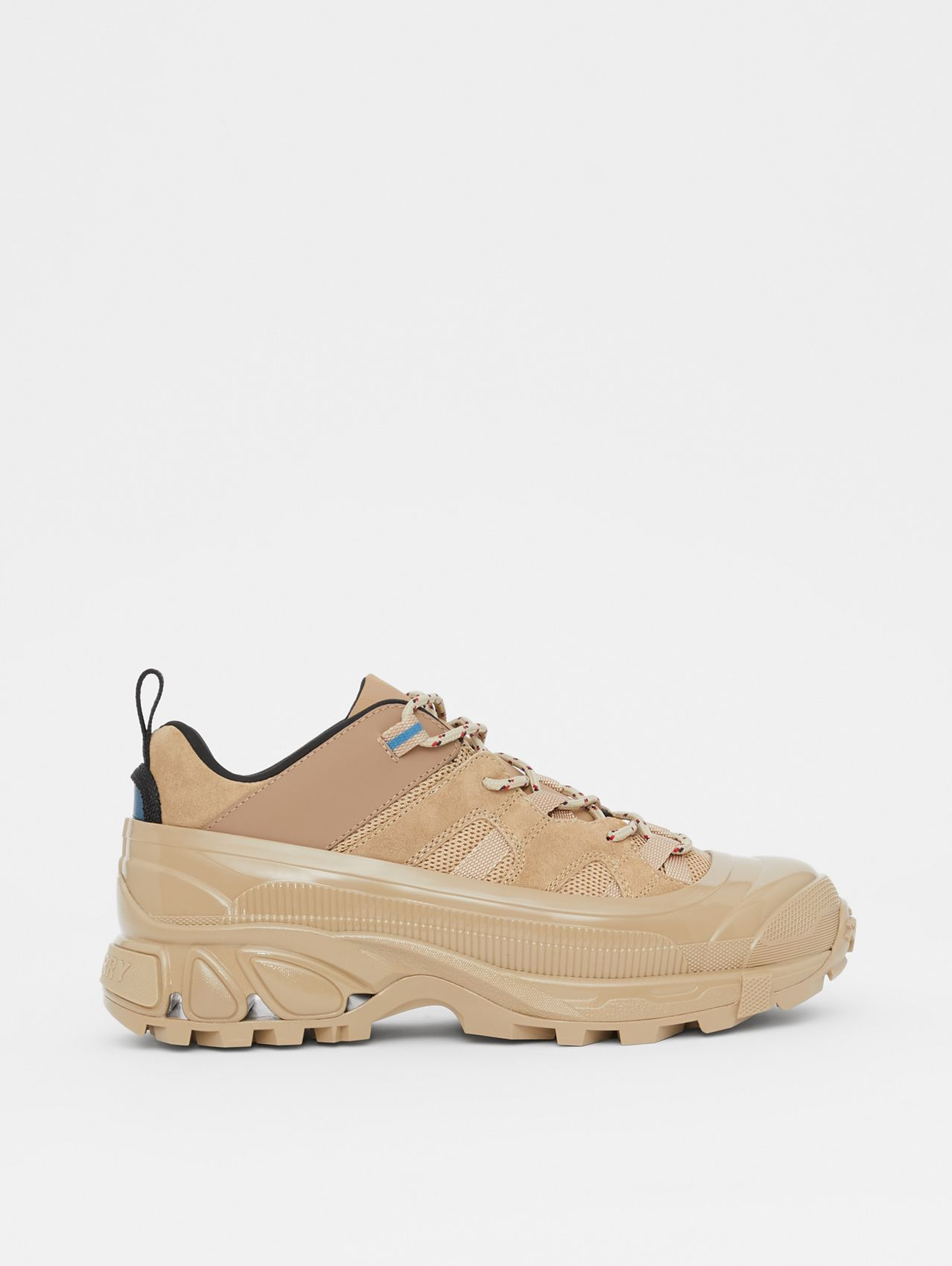 Suede, Mesh and Leather Arthur Sneakers in Beige