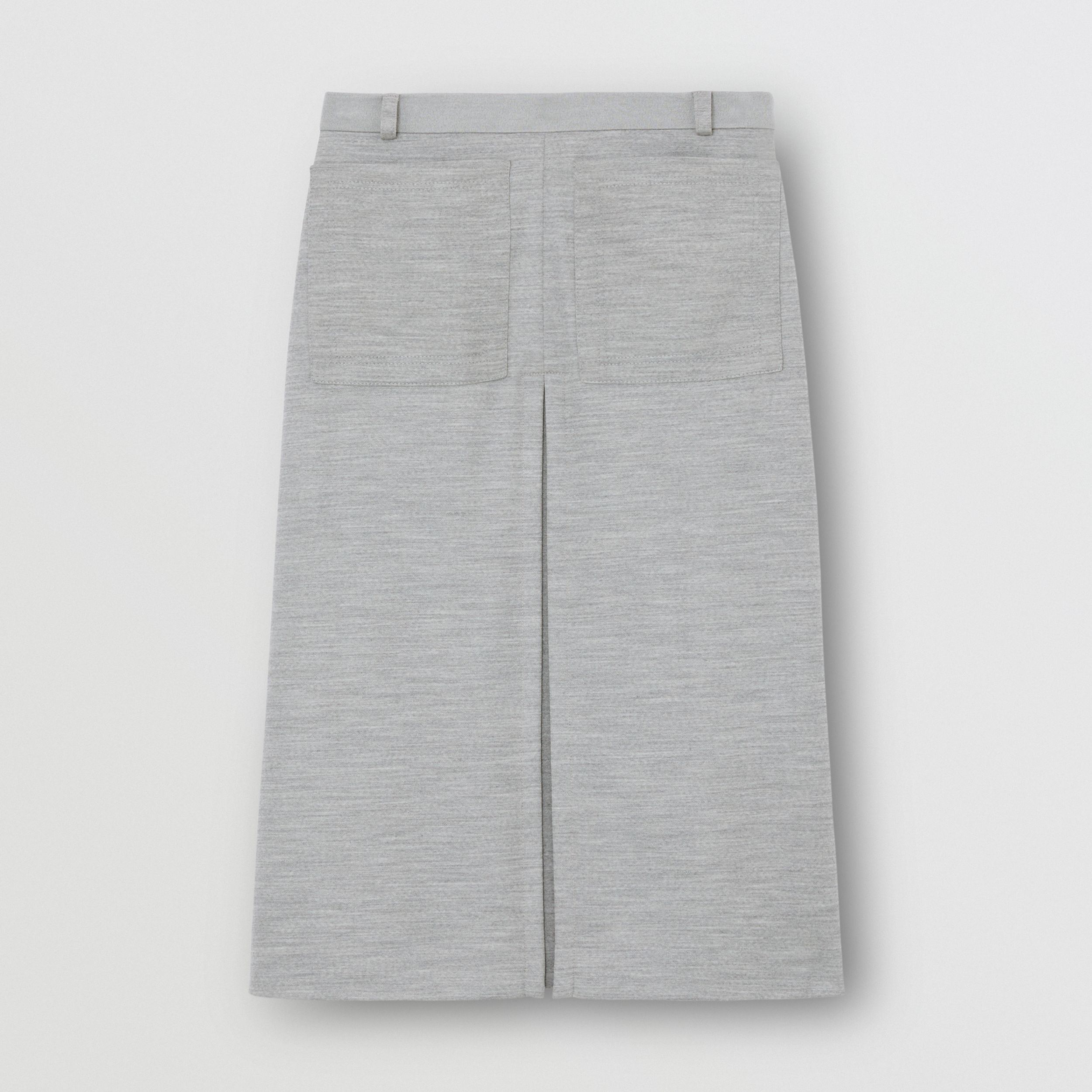 Box-pleat Detail Technical Wool Jersey A-line Skirt in Cloud Grey - Women | Burberry - 4
