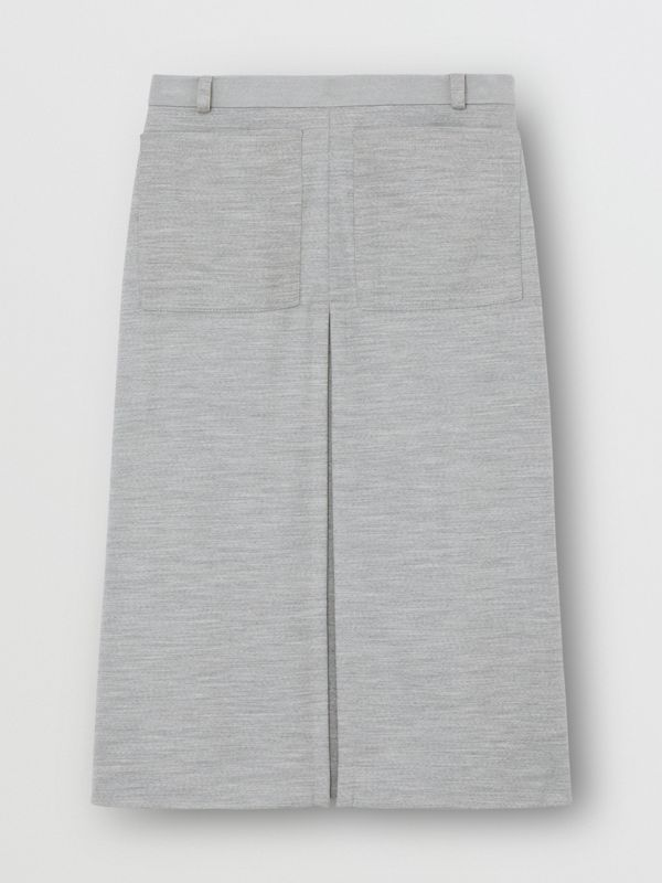 Box-pleat Detail Technical Wool Jersey A-line Skirt in Cloud Grey - Women | Burberry - cell image 3